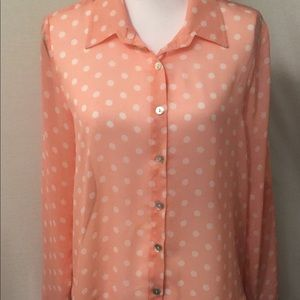 About a Girl peachy pink polka dot button down
